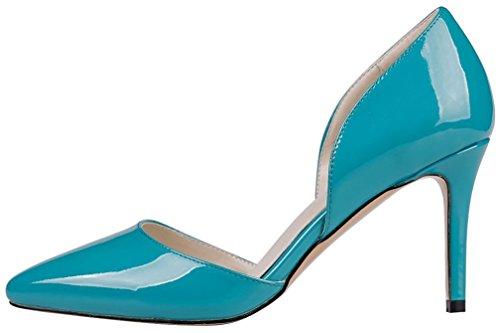 Calaier Mujer Caproblem Tacón De Aguja 8.5CM Sintético Ponerse Sandalias de vestir Zapatos Azul