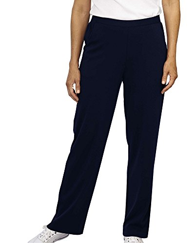 Misses Casual Pants - UltraSofts Flat Front Pants, Dark Navy, Large