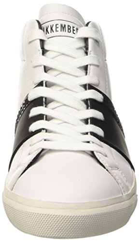 Bikkembergs Rubb-er 752 Mid Shoe M Leather, Women's High Trainers White (White/Black)