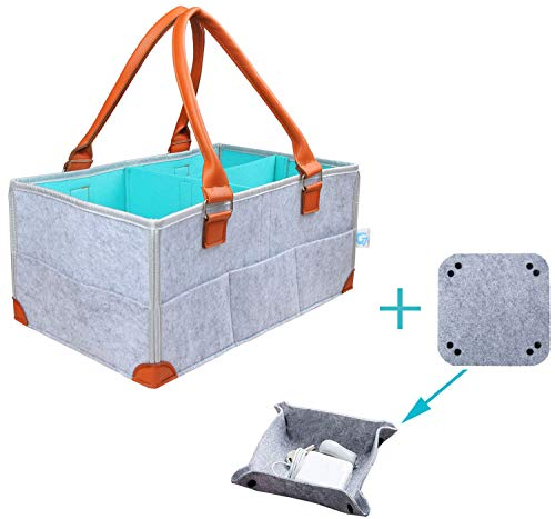 Gelible Baby Diaper Caddy- Nursery Storage Bin Changing Table Diaper Change - Baby Shower Gift Basket for Boy Girl - Newborn Registry Must Haves - Felt Coin Valet Tray Included ()