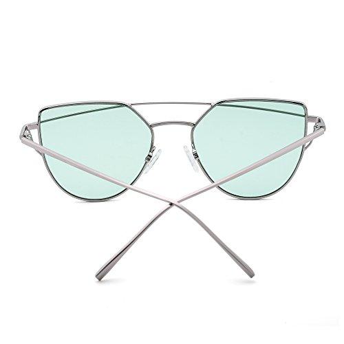 de Marco Dobles de Planas Verde Transparent Hombre Vigas Espejo Lentes Ojo Retro Sol de Mujer Gato Plateado Gafas qw4Ax