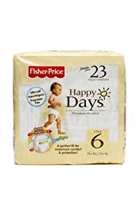 Fisher Price Happy Days Baby Diapers Jumbo Pack, Size 6, 23 Count (Pack of 6)