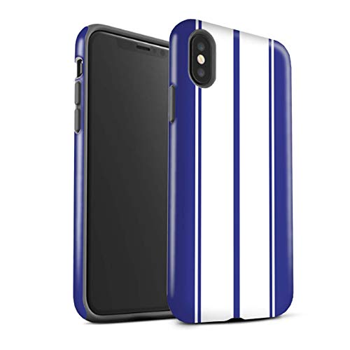 STUFF4 Gloss Tough Shock Proof Phone Case for Apple iPhone Xs Max/Shelby/Blue Design/Racing Car Stripes -