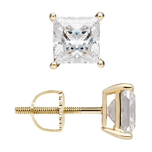 14K Solid Yellow Gold Stud Earrings | Princess Cut Cubic Zirconia | Screw Back Posts | 2.0 CTW | With Gift Box ()