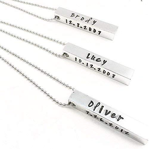 1b9a556cc8180 4 Sided Vertical Bar Necklace Initial necklace Personalized Name necklace  Bridesmaid Gifts Vertical Rectangle Initials Dates GPS Silver BAR  Four-Sided ...
