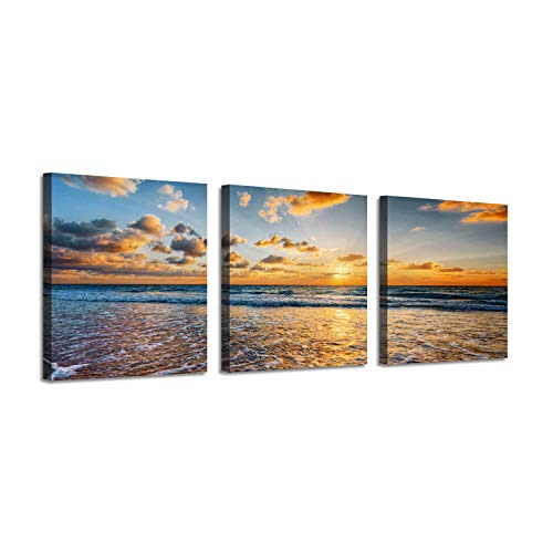 Seascape Picture Wave Artwork Print: Beach Panoramic Graphic Art on Canvas Set for - Art Photography Ocean