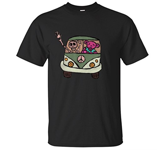 - Grateful Dead Inspired Hippie Tour Bus Skeleton Dancing Bear T-Shirt (2X, Black)