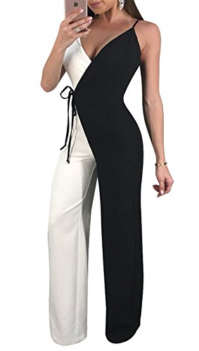 Mystry Zone Long Pants Jumpsuits for Women Sleeveless Rompers Elegant Sexy Wide Leg with Belt Black Large