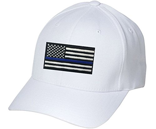 [Embroiderd Blue Line Black American Flag Police Cops Pride Embroidered Hat 4 Colors - White - OSFA] (Cheap Police Hats)