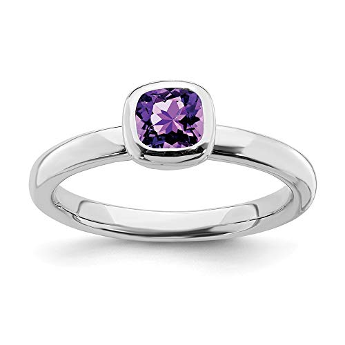 - 925 Sterling Silver Cushion Cut Purple Amethyst Band Ring Size 7.00 Stone Stackable Gemstone Birthstone February Fine Jewelry Gifts For Women For Her