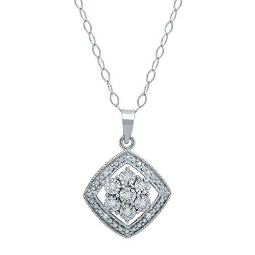 Diamond Flower Drop Necklace (Drop Tile Flower Pendant with Diamonds in Sterling Silver)