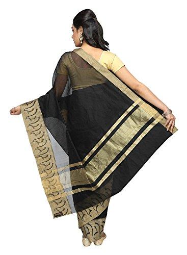 Pavecha's Women's Banarasi Silk Cotton Blend Zari Casual Saree Free Size Black by Pavecha's (Image #3)