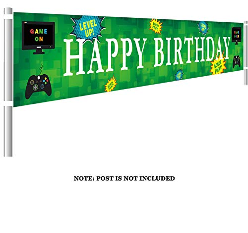 (Large Video Game Happy Birthday Banner | Personalized Gaming Birthday Flags with Gamepad Computer Monitor | Gaming Party Decorations (9.8 x 1.5)