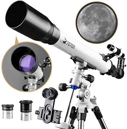 Telescope 70EQ Refractor Scope-70mm Aperture and 700mm Focal Length-Come with a Smartphone Mount