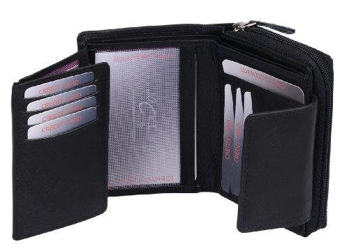 Portafoglio Donna LEAS, Vera Pelle, nero - ''LEAS Zipper-Collection''