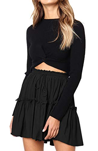 Boho Fille Elastique Yeesea Mini Plisse Plage Chic Mode Noir Jupe Court Patineuse Femmes Skirt Party wqvF0vtSn