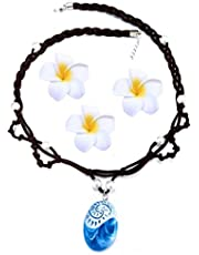 Girls Popular Necklace Pendants Chain Accessory for Moana Cosplay Kids Toys Princess Doll Birthday   Heart of Te Fiti Gorgeous Blue Pendant