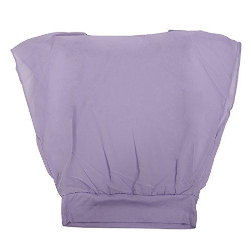 SODIAL (R)Femmes Couleurs de bonbons Chemisier de carriere en mousseline de soie Chemisier cintree a manches bouffantes Chemisier Violet L
