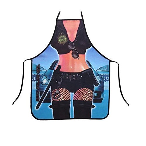 eSmart Attitude Sexy Hot Police Cop Girl Lady Apron BBQ Cooking Grilling Night Party (Girls Police Outfit)