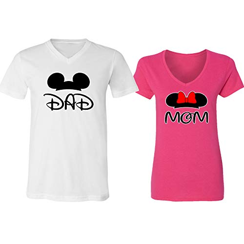 GOOD SHOPPERS ACTIVEWEAR Mickey Dad Minnie Mouse Mom Family Couple Design V-Neck Shirt for Men Women(White-Heliconia,Men-XL/Women-XXL)]()