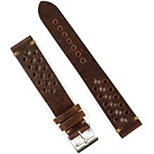B & R Bands 20mm Chestnut Classic Vintage Racing Watch Band Strap - Large Length