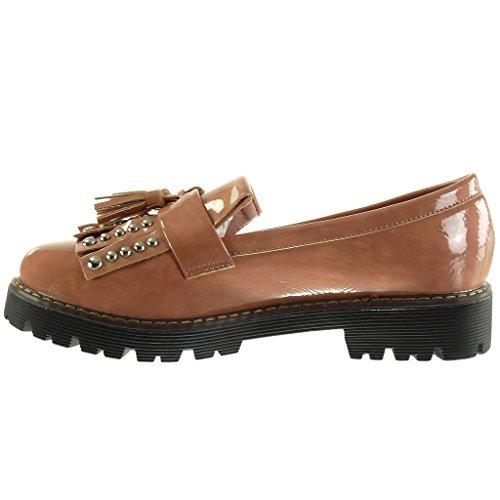 Angkorly Damen Schuhe Mokassin - Slip-On - Nieten - Besetzt - Fransen - Glänzende Blockabsatz High Heel 3.5 cm Rosa
