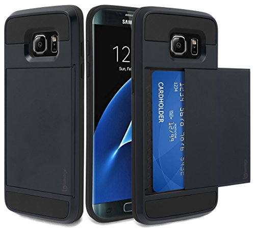 - Samsung Galaxy S7 Edge Case, Bastex Hybrid Black Rubber Silicone Cover Navy Blue Hard Plastic Hidden Credit Card Cash Id Holder Slot Case for Samsung Galaxy S7 Edge G935