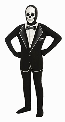 Forum Novelties I'm Invisible Costume Stretch Body Suit, Skull Tuxedo, Child Large (Skull Sock Mask)