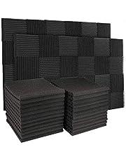 "50 Pack Charcoal Acoustic Foam Panels 1"" X 12"" X 12"" Soundproofing Studio Foam Wedge Tiles Fireproof (50 Pack, Black)"