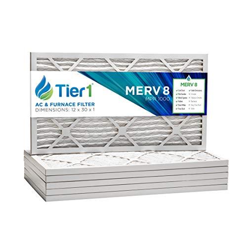 Tier1 12x30x1 Merv 8 Pleated Dust & Pollen AC Furnace Air Filter 6 Pack