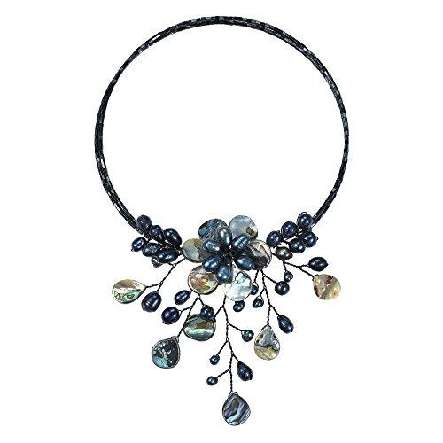 (AeraVida Pretty Black Abalone Shell Flower Ray Choker Wrap Necklace)