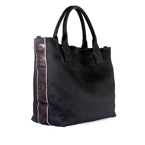 Pinko Crispo Black Shopper Canvas Large w7a0qg4