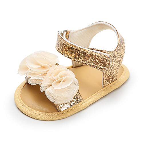 Isbasic Baby Girls Sandals Bohemia Flower Bow Soft Sole Toddler First Walkers Beach Summer Shoes (12-18 Months Infant, E-Gold) (Sandals Gold Soft)