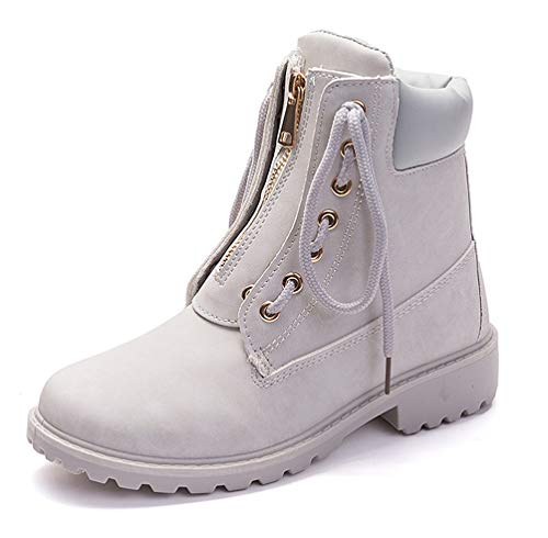 Bootie Anti Lined Leather Warm Martin Boots Up Combat Skid Light Fashion Ankle Casual Grey Shoes Winter Women's Lace Flat Boots Boots pqxgwX0z
