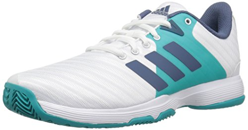 adidas Women's Barricade Court Tennis Shoe, White/tech Ink/hi-res Aqua, 9.5 M US