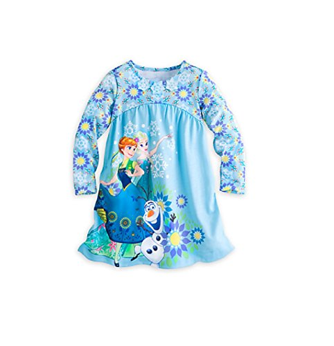 Disney Store Frozen Anna, Elsa & Olaf Long Sleeve Nightshirt Nightgown for Girls, Blue, Size 9/10