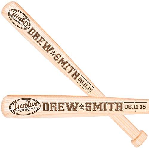 LifeSong Milestones Personalized Wedding gifts for Groomsmen ring bearer Custom wooden baseball bats for wedding party (Junior (Groomsmen Gifts Baseball)