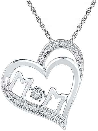 Jewels By Lux Sterling Silver Sterling Silver Womens Round Diamond Heart Key Love Pendant 1//20 Cttw