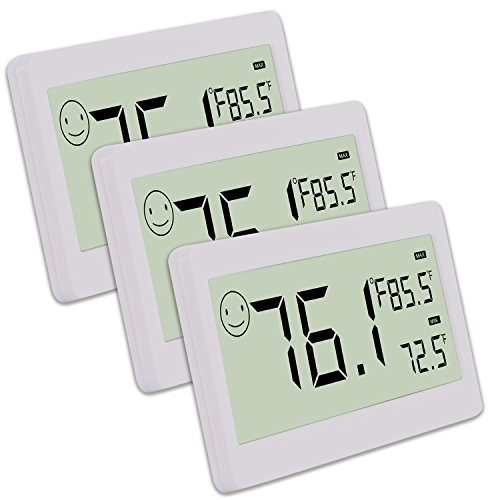(Digital Thermometer Hygrometer,Humidity Monitor with Temperature Gauge and 3.3 Inch LCD Display,Table Standing,Magnet Attaching for Household,Kids Home,Kitchen,etc (3 Pack))