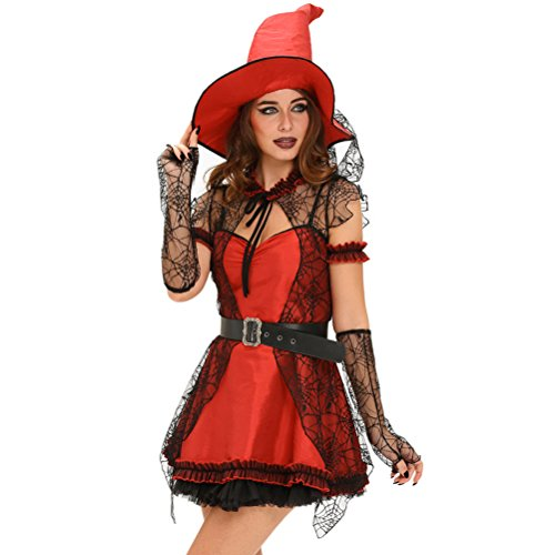 [YeeATZ Women's 6pcs Mischievous Witch Halloween Costume(Size,L)] (Sexiest Couple Halloween Costumes)
