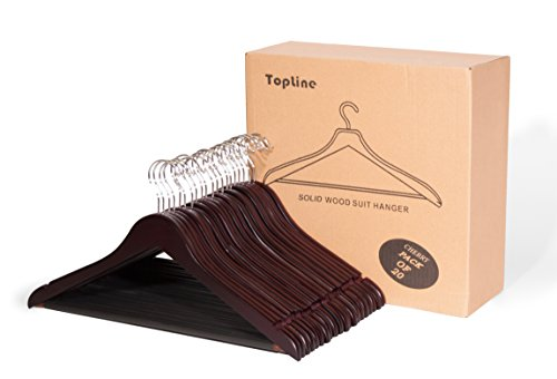 Topline Classic Wood Suit Hangers - 20 Pack (Cherry Suit Hanger)