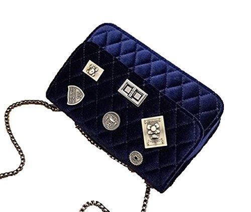 Bandolera Mujer Cuadrado Bolso Coreana Moda Bandolera Bolso Blue Cadena Bolso Versin TFOqzW