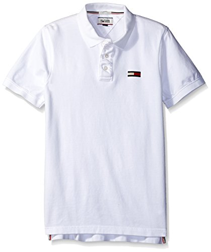 Tommy Hilfiger Denim Men's Basic Big Flag Polo Short Sleeve Classic White, Large