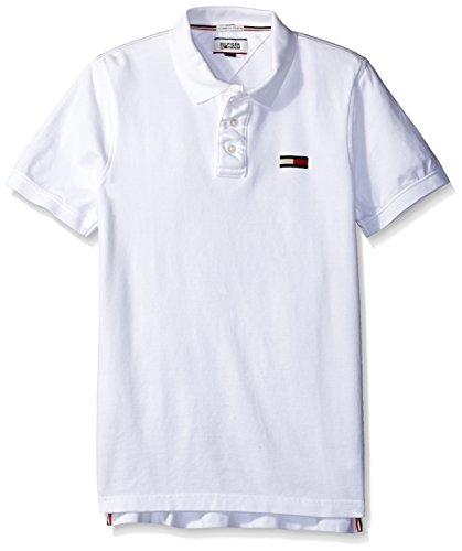 Tommy Hilfiger Denim Men's Basic Big Flag Polo Short Sleeve Classic White, Large