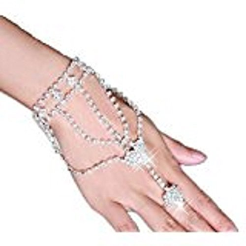 yueton 1Pieces Fashion Women Girl Glitter Heart Rhinestone Hand Harness Bracelet Bangle Slave Chain Link Finger Ring (Links Fashion Ring)