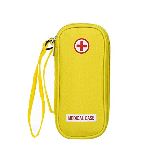 - EpiPen Carrying Medical Case - Yellow Insulated Portable Bag with Zipper - for 2 EpiPen's, Auvi-Q, Asthma Inhaler, Small Ice Pack, Eye Drops, Allergy Medicine Essentials