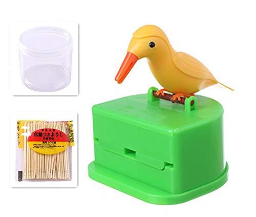 Accoutraments BIRD Toothpick Dispenser Gag Gift HANDY Clean Teeth NEW bird toothpick tweezers funny portable plastic toothpick holder (yellow) (Toothpick Bird Dispenser)