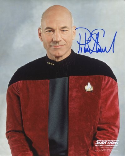 Patrick Stewart Signed / Autographed Star Trek The Next Generation 'TNG' 8x10 glossy photo portraying Jean Luc Picard. Includes FANEXPO Certificate of Authenticity and Proof. Entertainment Autograph Original.