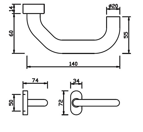 Edelstahl Haust/ür Griff Halbgarnitur auf Ovalrosette U-Form abgeschr/ägt