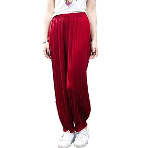 Hipster Elastica Moda Donna Elegante Pantaloni Vita Pluderhose Glamorous Tempo Pieghe Primaverile Autunno Monocromo Libero Jogging Rot Pantalone nbsp; HaiDean Pantaloni Semplice Lunga qwfAUxxz8